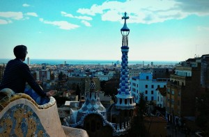 Man looks out over Barcelona