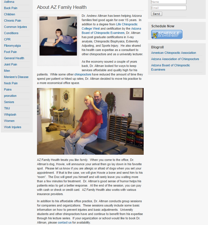 AZ Family Health About US page